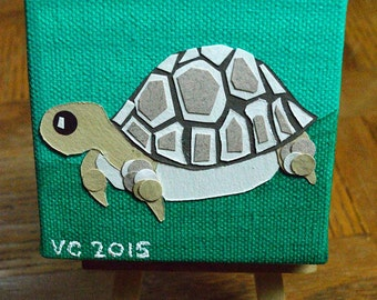 Turtle - mini mixed media painting