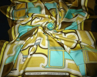 """The cuts"" vintage 1970 Collector Hermes Silk Scarf HERMES"