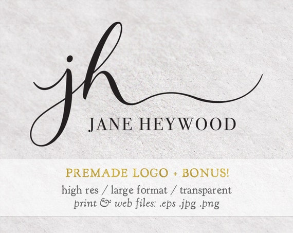 Premade logo design modern calligraphy font by