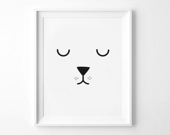 Rabbit Face, Monochrome Print, Black and White Printable, Nursery Art, Children's print, Kids Print, Instant Download, Kids Printable