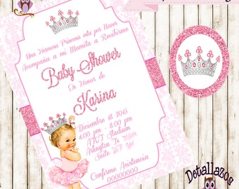 baby princess vintage invitation