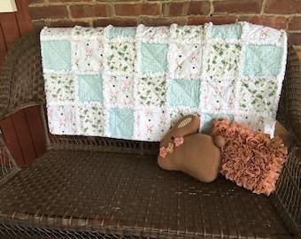 Bunny Quilt - Rag Quilt - Cottage Chic Quilt - White Flannel Quilt - Floral Quilt - Floral Throw Blanket - Baby Shower Gift - Floral Blanket