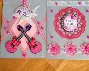 Gorgeous Handmade Note Cards, Gift Cards Handmade, Special Occassion Cards, Cards for girls.