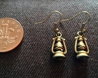 Lantern antiqued dangle earrings