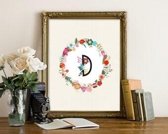 Custom monogram printable, letter monogram custom printable, custom print, letter print, letter printable, letter wall art, letter printable