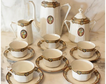 M5133 Antique Circa 1920's Art Deco French Limoges Fine China Coffee, Tea, Chocolate Set 17 Pieces Total