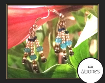 Playful Blue & Gold Dangling Earrings