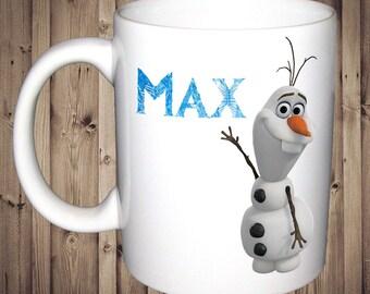 Personalised Olaf Frozen Mug Birthday Christmas Gift Present Tea Cup