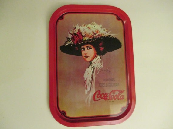 Coca cola wall decor tray metal vintage by riverripples on for Coca cola wall mural