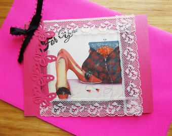 For You - Handmade One Of A Kind Shabby Chic Embellished Greeting Card