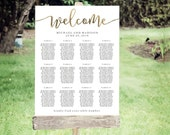 Wedding Seating Chart Template | Editable PDF, Printable Seating Plan Poster, Seating Board | Calligraphy Lettering Gold | ED 5186