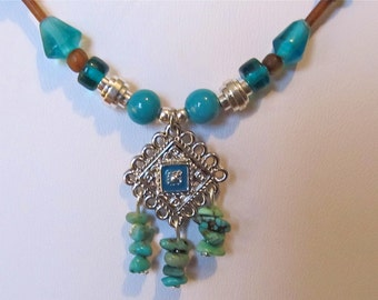 Turquoise Gemstone Necklace with brown & silver plated beads, ONE OF A KIND