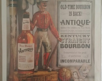 Vintage 1959 Four Roses Antique Kentucky Straight Bourbon Whiskey Ad Baseball