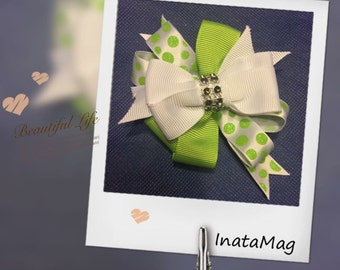 Green with white three layer bow