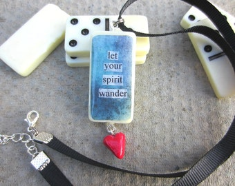 Quote Necklace, Domino Necklace, Heart Charm, Handmade Necklace, Upcycled Necklace, Domino Pendant, Handmade Jewellery, Handmade Jewelry,
