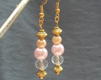 Pale pink and gold drop earrings