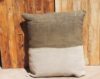 "Natural linen ""Tie & Dye green Absinth"" Collection ""Little Miss Moses"", 100% handmade"
