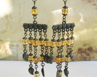 Citrine Earrings Chandelier Earrings Ethnic Earrings Dangle Earrings Romantic Earrings Boho Earrings Bohemian Earrings FREE SHIPPING