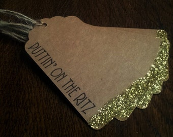 Glitter Gift Tags - Puttin' On The Ritz - Christmas - Handmade - Pack of 5 - brown kraft card - vintage style - birthday gift tags