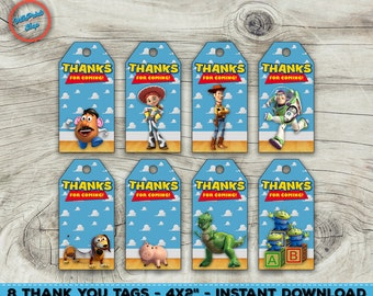 "Toy Story thank you tags, Toy Story favor tags! Toy Story thank you, Toy Story party favor. 4x2"" each!"