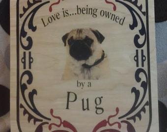 Wood Plaque Pug - Pug Lovers - Pug Home Decor