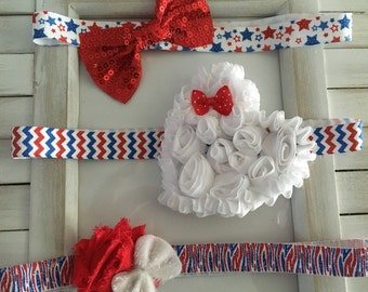 6-12 months baby headbands 4th of july holiday, red white and blue. Chevron, stars and striped