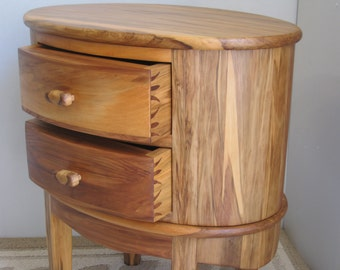 Oval Nightstand End Table Red Gum two drawers