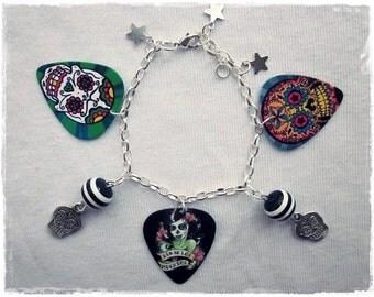 Bettelarmband Día de los Muertos Gitarren-Plektren