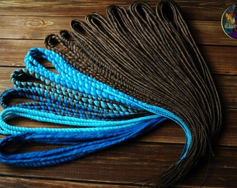 Dreads mix synthetic classic double ended dreads DE for full head brown blue cyan