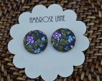 Fabric covered button earrings, vintage print