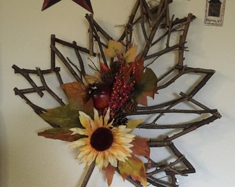 Rustic Twig Leaf Wood Art Decoration