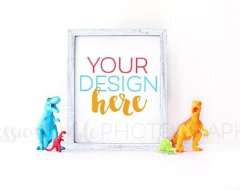White Frame + Dinosaur Toys Styled Desktop,  Styled Stock Photography, Toy Styled Mockup, Product Background Photo, Art Print