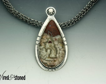 Silver Necklace, Crazy Lace Agate Necklace, Silver Pendant, Metalwork Jewelry, Handmade Necklace