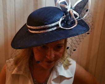 FASCINATOR Berlin 100% handmade headpieces Sinamay wedding straw hat blue / white