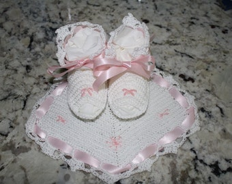 Handmade Baby Bib and Booties