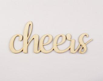 Cheers wooden sign - Lasercut - cutout - wedding decoration - gift - hanger - door decor - Living room