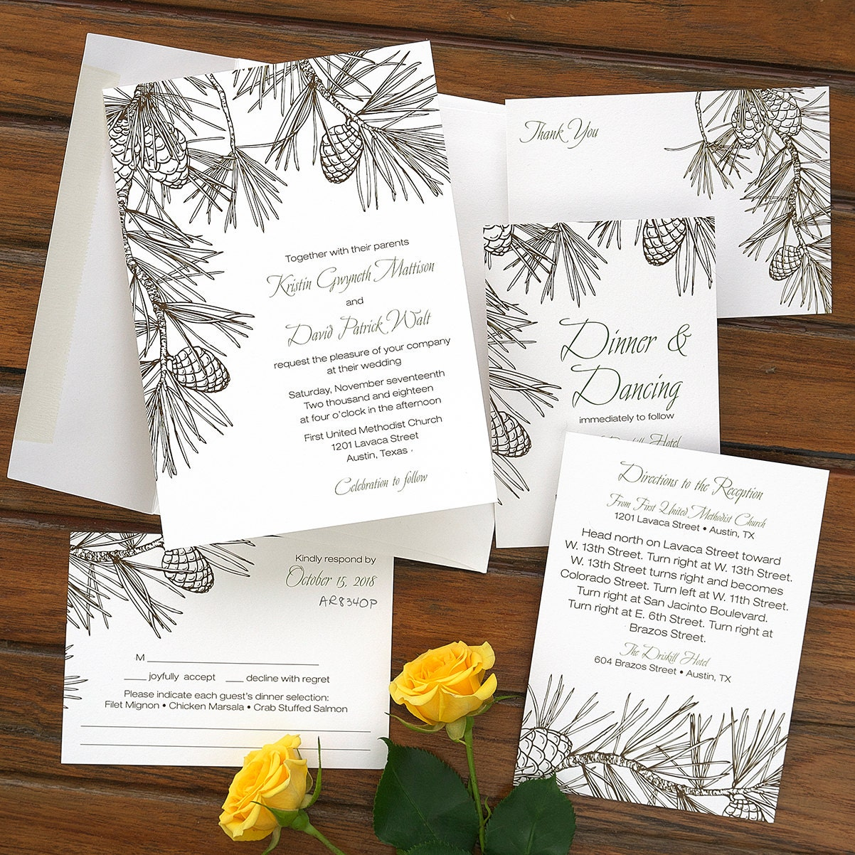 Pine wedding invitation set modern wedding invite for Digital wedding invitations