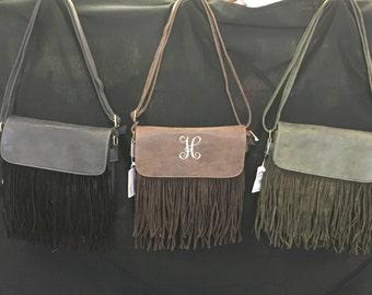 Fashion Handbags Monogrammed Personalized Fringed Multiple Pockets Shoulder Bag Adjustable Strap