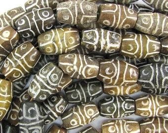 """18mm antique jade carved barrel beads 8"""" strand S2 32114"""