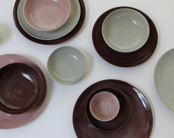 Stoneware Plates Set, Handmade Pottery, Stoneware Ceramic Plates, Ceramic Bowls. Stoneware Dinnerware Dish Set Glazed in Grey, Brown, Pink.