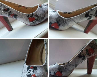 mouse shoes with glitter heel