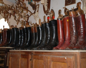 English Riding Boots w/ Stays Vintage Antique