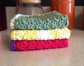Crochet Dishcloth,Crochet Washcloth, Set of three