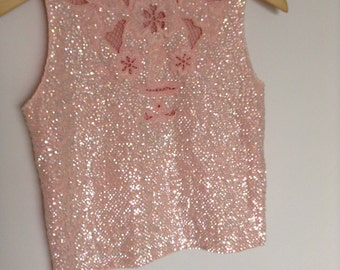 Vintage Pastel Pink Iridescent Sequin Vest Top Embroidered SMALL