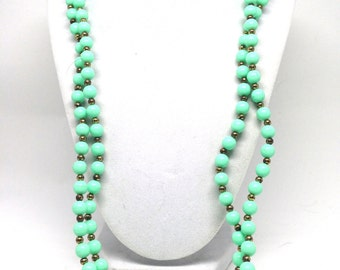 Splendid Bright Mint Green Beaded Long Gold Tone Vintage Estate Necklace