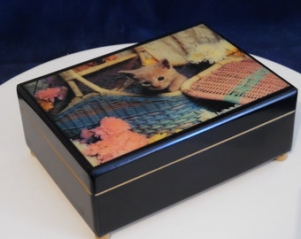 A jewelry box musical decorations kitten - Vintage jewelry wooden 70' - music - box box jewelry