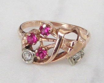14kt Retro Rose Gold Ruby Ring