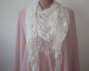 White Triangle Lace Fringe Shawl Fashion Shawl Womens Shawl