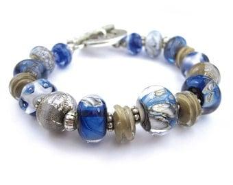 Lampwork Glass Bead & leather bracelet