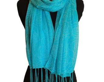 Blue summer scarf,Net scarf,Evening scarf for women,Long scarf with tassels,Lightweight scarf,Scarf for girls,Casual scarf